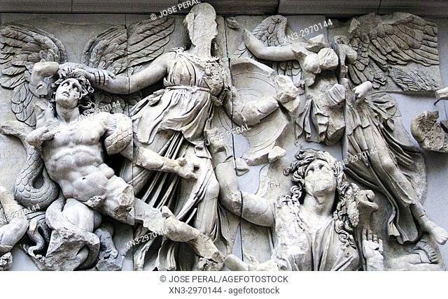 Athena and Nike fight Alkyoneus (left), Gaia rises up from the ground (right), East frieze, Pergamon Altar, Ancient Greek, Greek mythology, Pergamon Museum