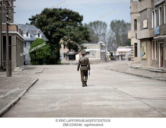 Male Soldier Walking Alone At Pyongyang Film Studio, North Korea