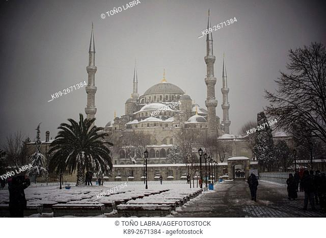 Sultan Ahmed Mosque (Blue Mosque) under the snow. Istanbul. Turkey