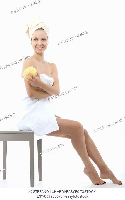 Beauty with towel and sponge