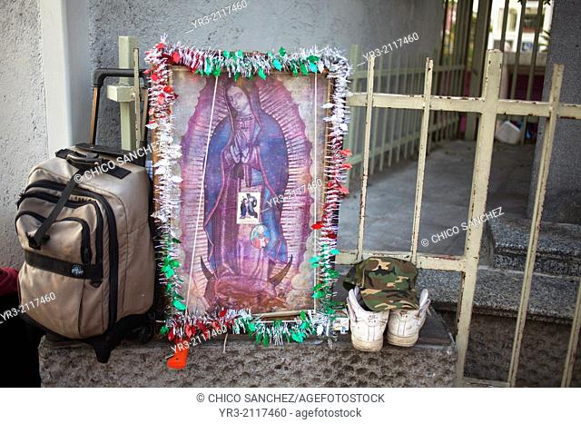 The luggage of a pilgrim at the pilgrimage to Our Lady of Guadalupe Basilica in Mexico City, Mexico, December 10, 2013