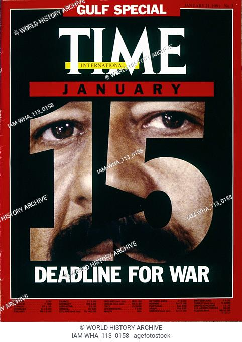 Front cover of 'Time ' magazine depicting Iraqi leader Saddam Hussein in the build up to the Gulf War, 21st January 1991