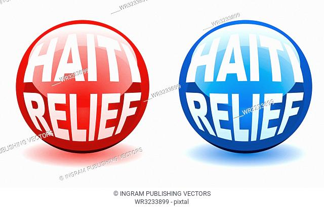Red and blue marble icons for the haiti relief effort