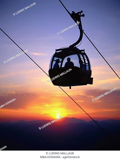 Austria, Tyrol, lowland, Söll, Hohe Salve, mountain railway, silhouette, gondola, sunset, Alps, mountains, mountain scenery, aerial passenger line