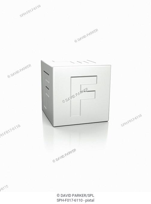 Cube with the letter F embossed