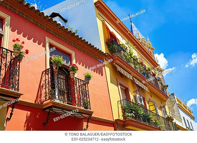 Triana barrio facades in Seville Andalusia Spain Sevilla