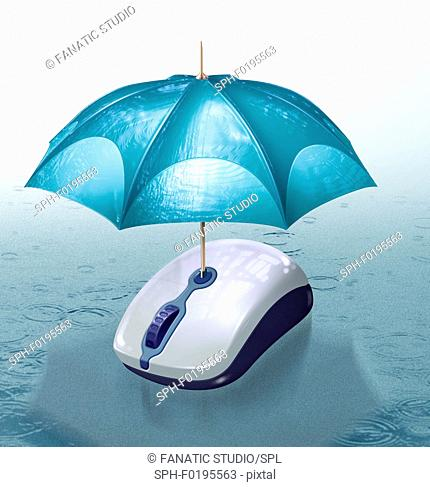 Illustration of umbrella covering computer mouse