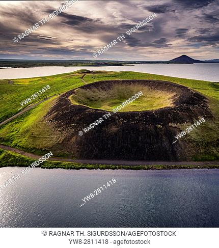 Skutustadagigar pseudo craters, Lake Myvatn, Northern Iceland. . Drone photography