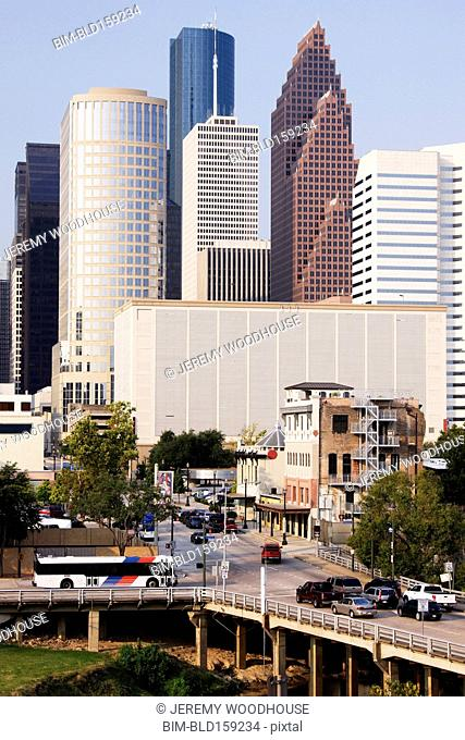 High rise buildings in Houston cityscape, Texas, United States