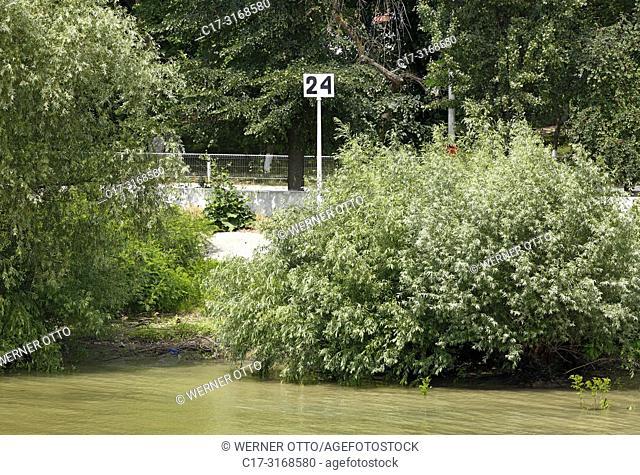 Crisan, information sign, kilometrage of the Danube river, 24 river kilometres left to the river mouth, Danube navigation, Danube bank