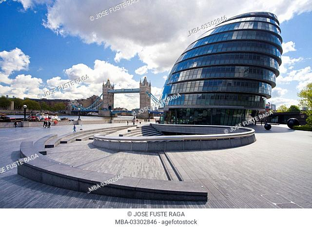 Great Britain, London, bank of River Thames, architecture, city sound, city hall, Tower Bridge
