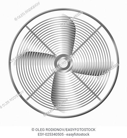 Modern realistic metallic fan isolated on white background. Highly detailed illustration