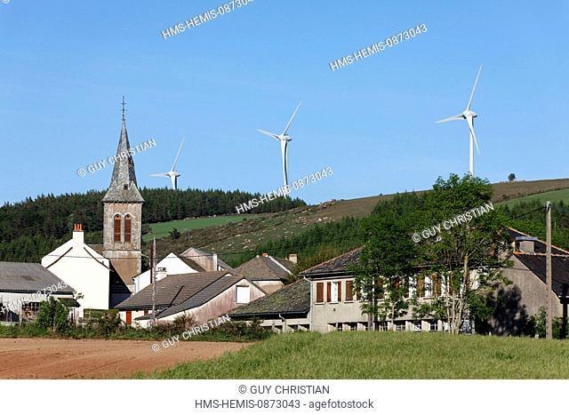 France, Aveyron, wind turbines near the Bouloc, plateau Levezou