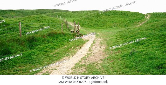 View of Maiden Castle, an Iron Age hill fort, a type of earthworks used as a fortified refuge which would exploit elevations. Dated 21st Century
