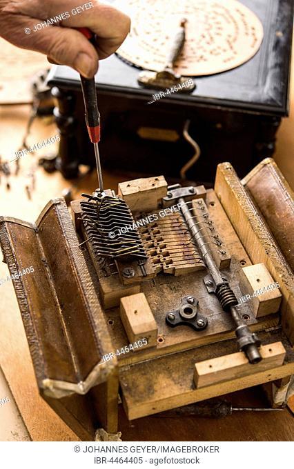 Barrel organ manufacture, sound post connected to bellows, Grassau, Upper Bavaria, Bavaria, Germany