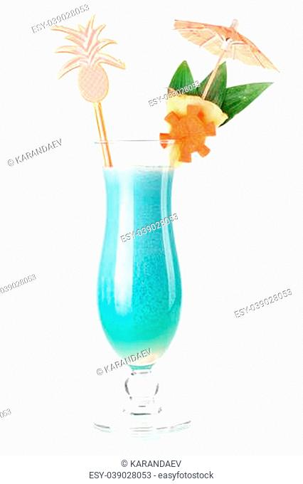 Cocktail collection - Tropical cocktail with coconut cream. Isolated on white background