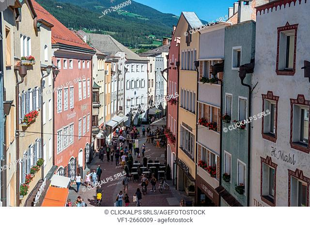 Brunico, South Tyrol, Italy. The Shopping Street of Brunico/Bruneck