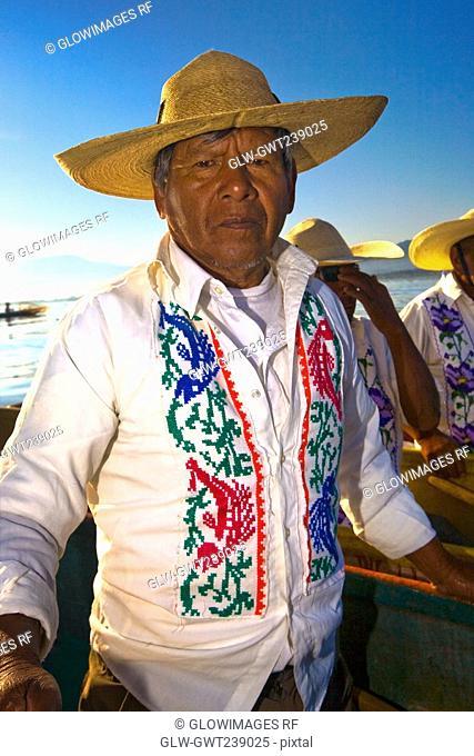 Portrait of a senior man, Janitzio Island, Lake Patzcuaro, Patzcuaro, Michoacan State, Mexico