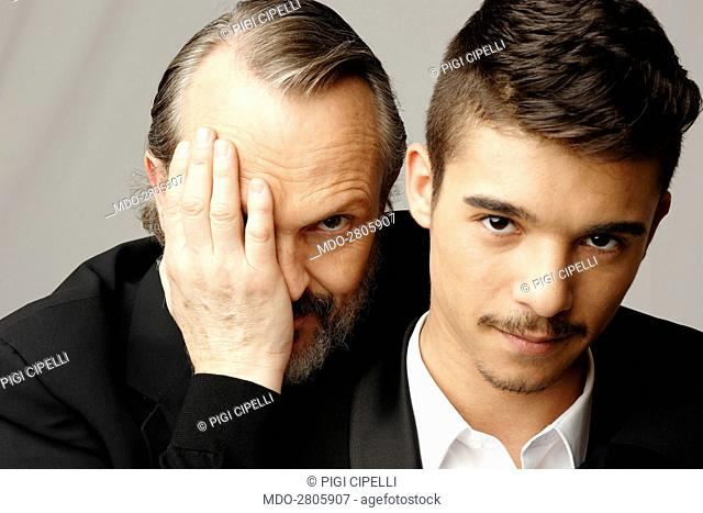 The rapper Moreno (Moreno Donadoni) and the actor and singer-songwriter Miguel Bosé (Luis Miguel González) posing at Helios studios where the talent show Amici...