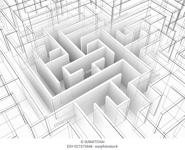 endless maze 3d illustration,wire frame