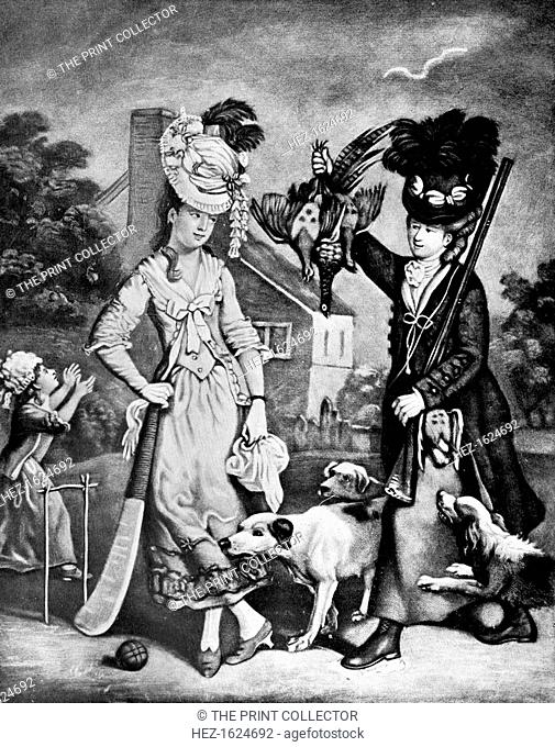 'Miss Wicket and Miss Trigger', 1770. 'Miss Trigger you see is an excellent shot, and forty-five notches Miss Wicket's just got