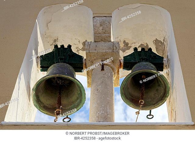 Bells in bell tower, Panagia Theotokos tis Paleokastritsas monastery, Paleokastritsa, Corfu, Ionian Islands, Greece