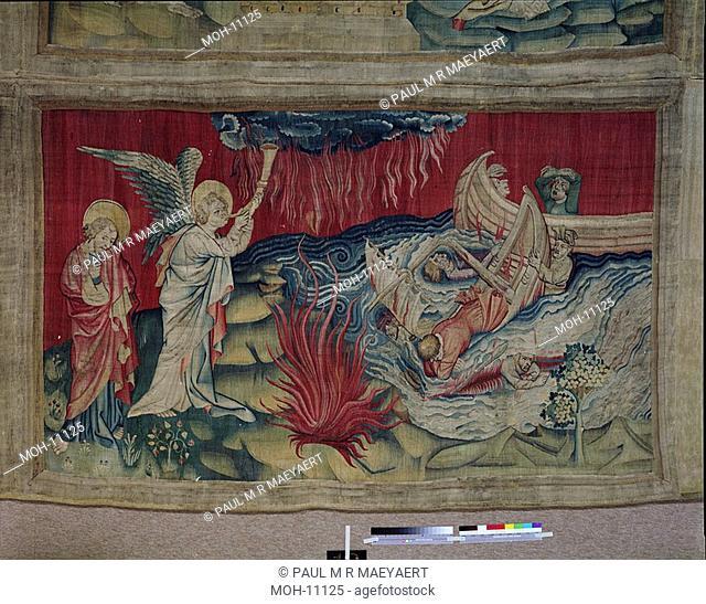 La Tenture de l'Apocalypse d'Angers, Deuxième trompette : le naufrage 1,57 x 2,62m, Die zweite Posaune: Schiffbruch
