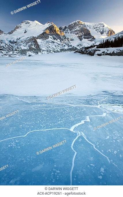 Mount Athabasca and the Sunwapta River in winter, Columbia Icefield, Jasper National Park, Alberta, Canada