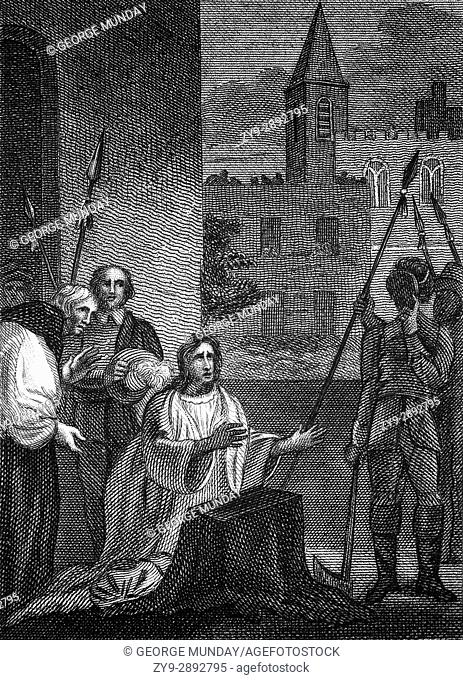 The execution of King Charles I (1600 - 1649) was scheduled for Tuesday, 30 January 1649. At about 2:00 p. m. Charles put his head on the block after saying a...