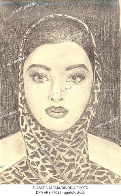 Painting , illustration , drawing black and white monochrome sketch of Indian bollywood actress Aishwarya Rai , India