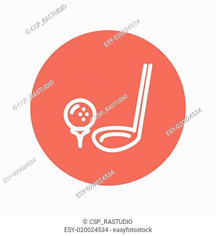 Golf ball and putter thin line icon