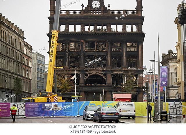 The burned out former Primark bank buildings building and exclusion zone in Belfast city centre northern ireland