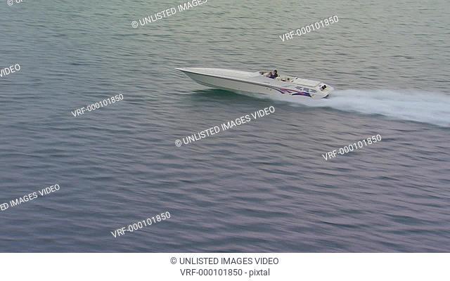 Flying alongside a power boat