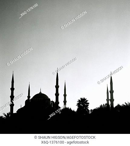 Sundown at the Blue Mosque Sultan Ahmet Camii in Sultanhamet in Istanbul in Turkey in the MIddle East