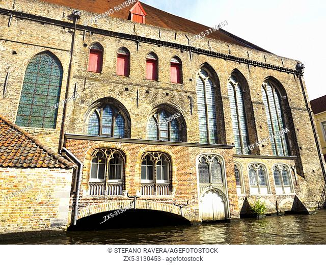 Facade of the Church of Our Lady (Onze-Lieve-Vrouwekerk) - Bruges, Belgium,