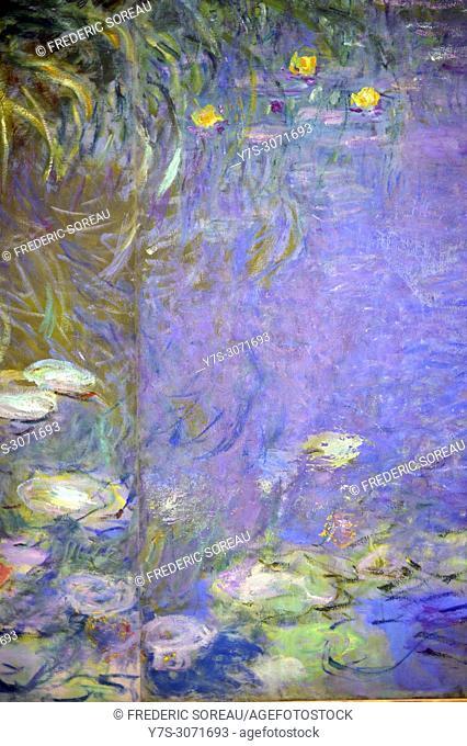 Detail of Nymphéas by Claude Monet(1840-1926), at The Orangerie museum, The Tuileries, Paris, France
