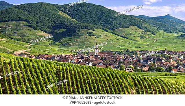 Village of Ammerschwihr surrounded by vineyards of the Grand Cru along the Wine Route, Alsace Haut-Rhin France