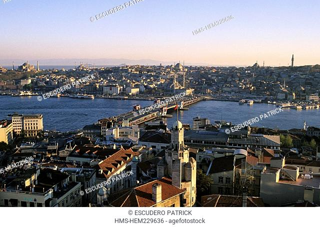 Turkey, Istanbul, Beyoglu District, panorama from the Galata Tower upon the Golden Horn in the historical centre listed as World Heritage by UNESCO