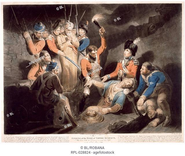 Finding the body of Tipu, 'Finding the Body Of Tippoo Sultan'. Coloured engraving. Originally published/produced in London, 1800