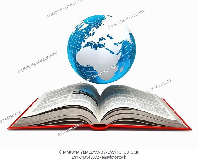 Education internet e-learning concept. Earth and open book isolated on white. 3d