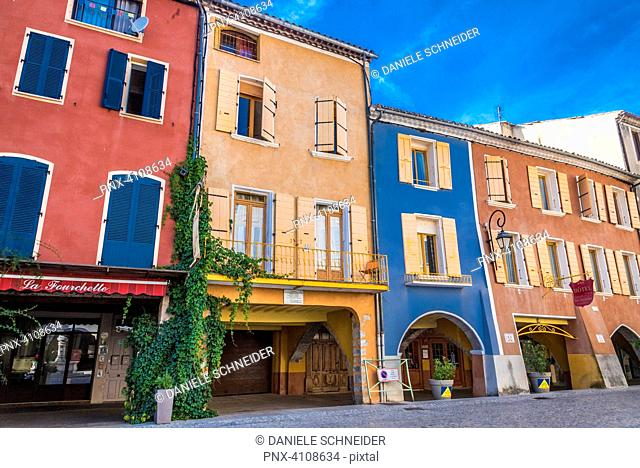 France, Drome, The Provencal Baronnies Regional Natural Park, Buis-les-Baronnies, houses and covered passage of the Market Place