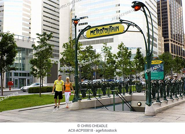 Parisian Metro sign at entrance to Guimard station, Montreal, Quebec, Canada