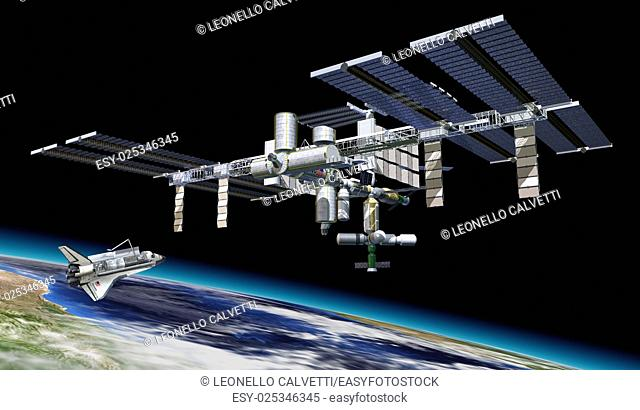 Space station in orbit around Earth, with Shuttle. A portion of the Earth at the bottom