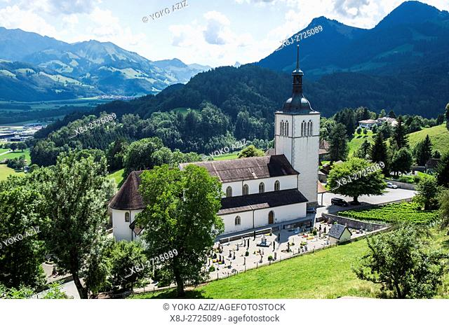 Switzerland, canton Fribourg, Gruyeres, old town, local cemetery
