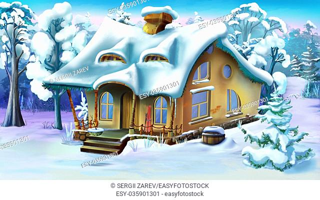 Fairy Tale House in a Winter Forest. Daytime. Handmade illustration in a classic cartoon style