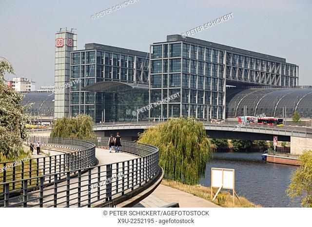 new main train station Hauptbahnhof and the river Spree in Berlin, Germany, Europe