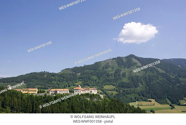 Austria, Styria, Rottenmann, Burg Strechau, View of building with mountains in background