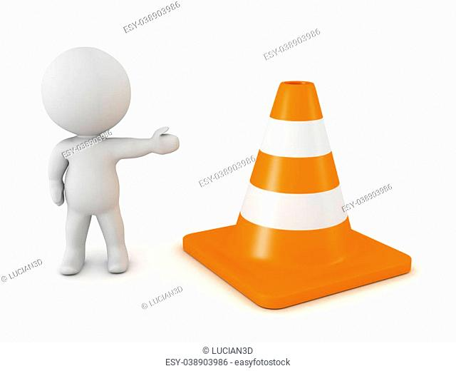 A 3D character showing an orange road cone. Isolated on white background