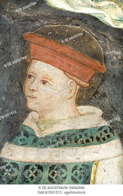 Member of the commitments family, detail from the frescoes behind St Michael's altar, left transept in Cremona cathedral, Cremona, Lombardy