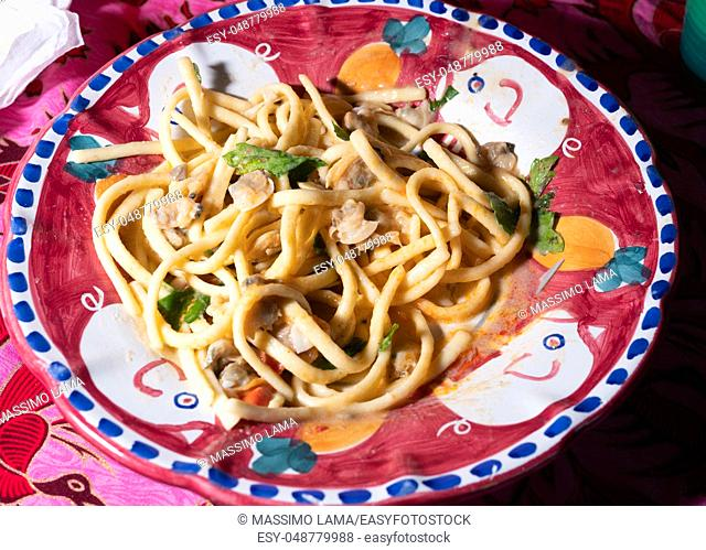 Scialatielli pasta with seafood mix on the plate